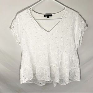 Gibson white eyelet short sleeve tiered top